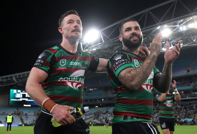Damien Cook of the Rabbitohs and Adam Reynolds of the Rabbitohs