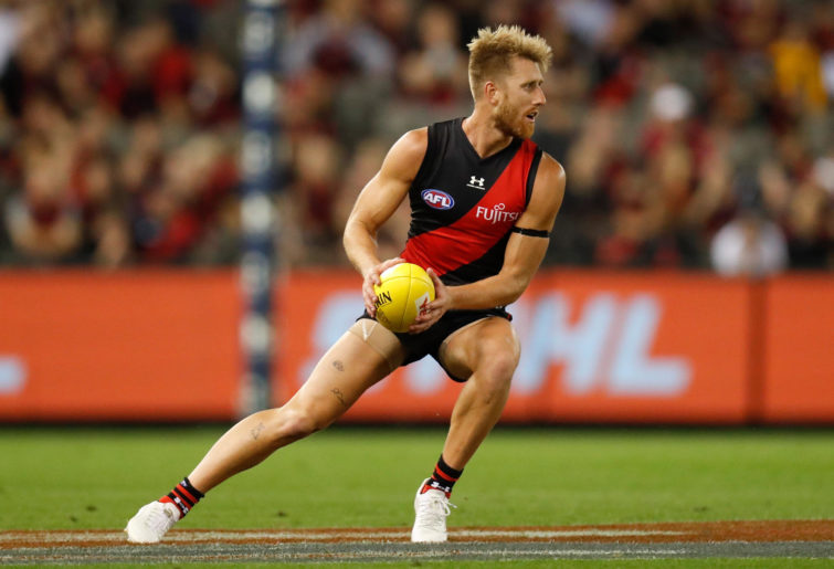Dyson Heppell of the Bombers in action