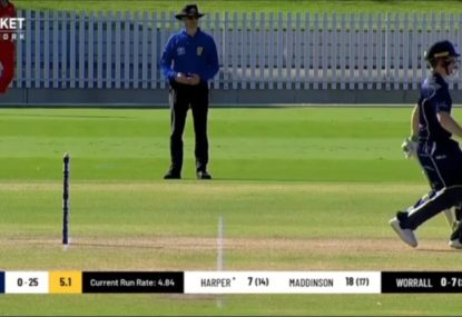 Umpire has no choice but to give batsman out obstructing the field
