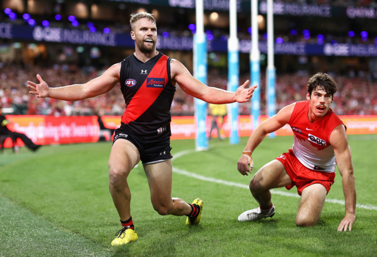 Jake Stringer of the Bombers reacts