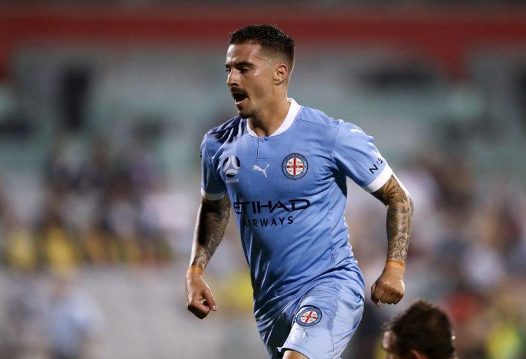 Jamie MacLaren of Melbourne City celebrates scoring a goal