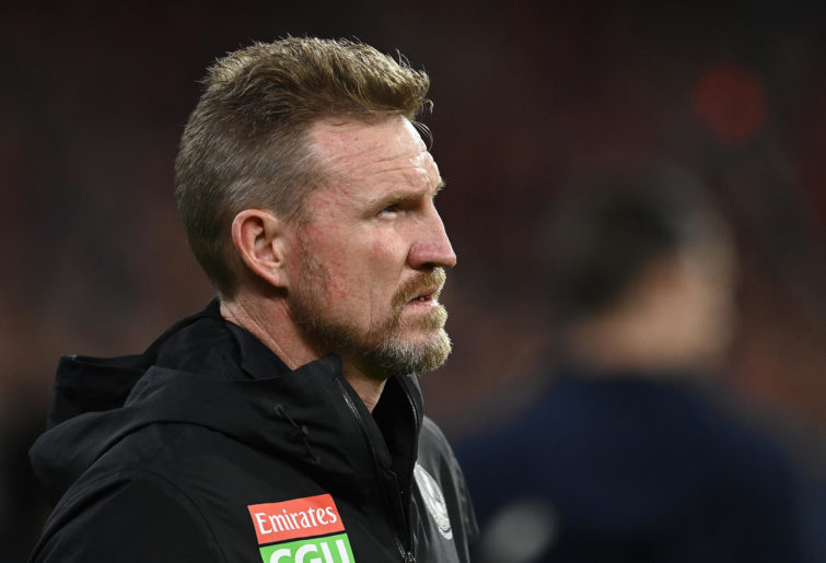 Magpies head coach Nathan Buckley looks on