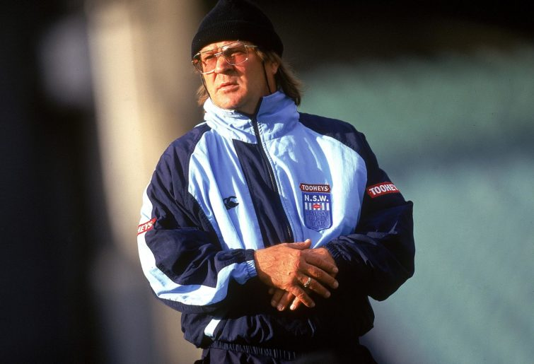 Tommy Raudonikis, coach of the New South Wales Blues looks at his players