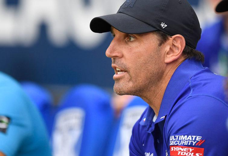 Bulldogs coach Trent Barrett looks on