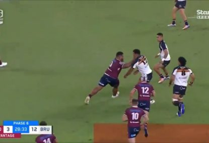 LAST TIME THEY MET: Tongan Thor's brutal fend against the Brumbies