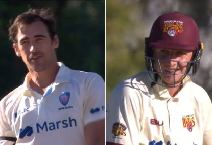 Mitchell Starc's savage sledge for QLD opener after pinning him