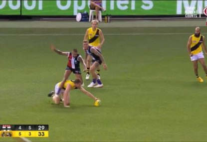 Brad Hill decides to leapfrog Dylan Grimes instead of, y'know, laying a tackle
