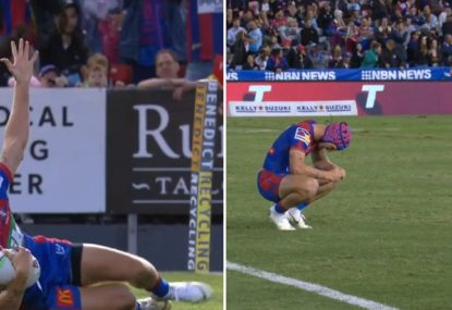 Superhuman Kalyn Ponga single-handedly sinks the Sharks... with a dodgy belly