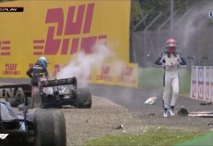'What the f--k was he doing!' F1 diver goes troppo at rival for causing nasty crash