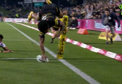 Brian To'o ices game for Penrith with leaping upside down try just for good measure