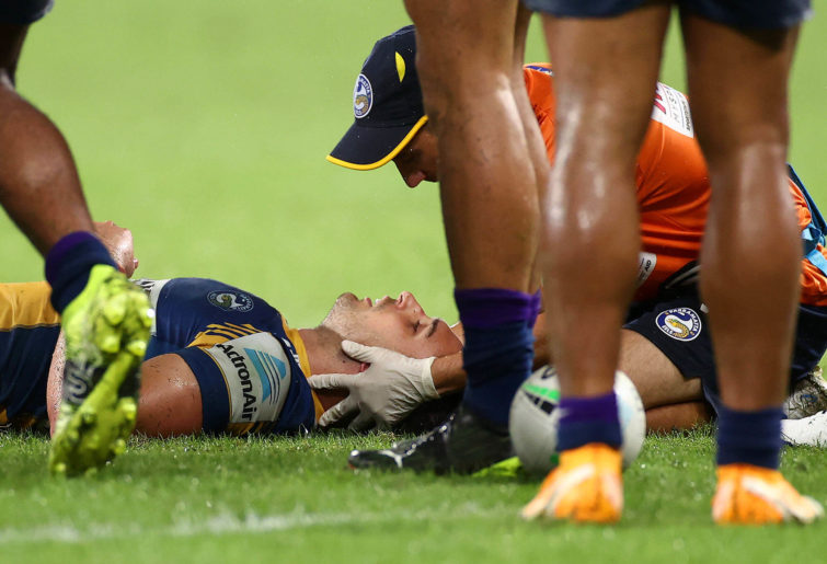 Ryan Matterson of the Eels after a head knock