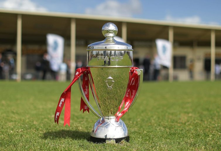 The FFA Cup trophy sits on the grass