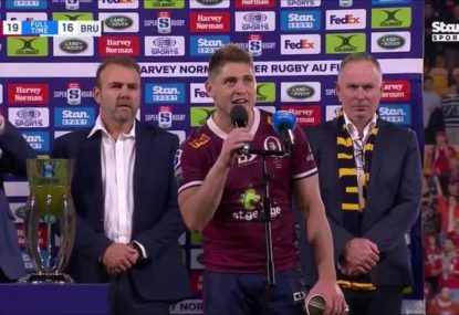 James O'Connor just about avoids a post-match F-bomb