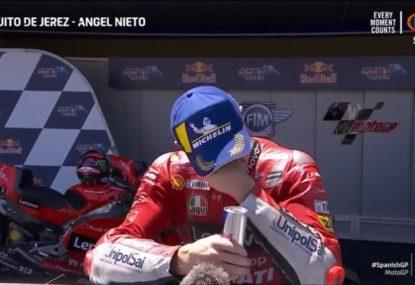 Aussie's emotional reaction to winning Spanish MotoGP