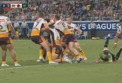 Amusing scenes as referee takes a tumble after colliding with Tevita Pangai Junior