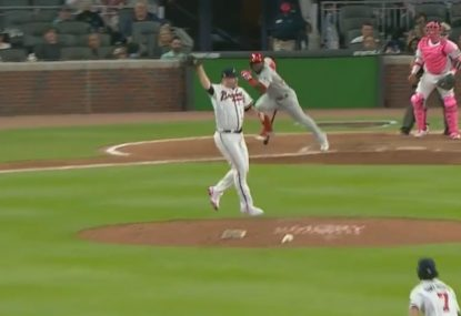 Atlanta pitcher starts unbelievable double-play sequence with freakish stop