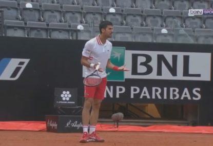 Djokovic screams at umpire for not stopping play in heavy rain