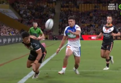 Tigers youngster gets away with Billy Slater-esque howler by the skin of his teeth