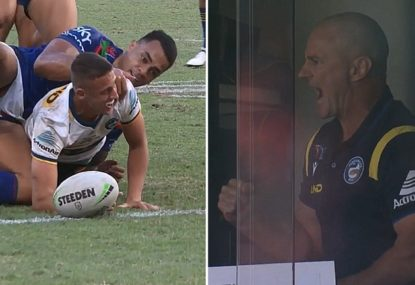 Brad Arthur celebrating his son's first NRL try is as wholesome as it gets
