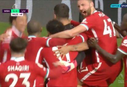 Absolute SCENES as Liverpool goalkeeper hits last-gasp winner