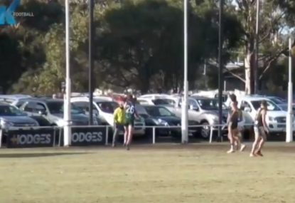 Local Aussie Rules player somehow misses from a metre out!