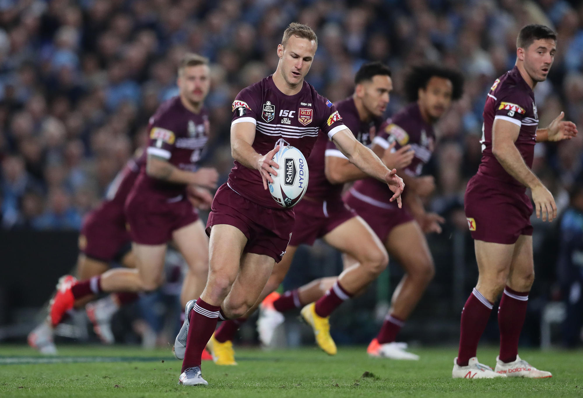 Daly Cherry-Evans kicks during the 2019 State of Origin series.