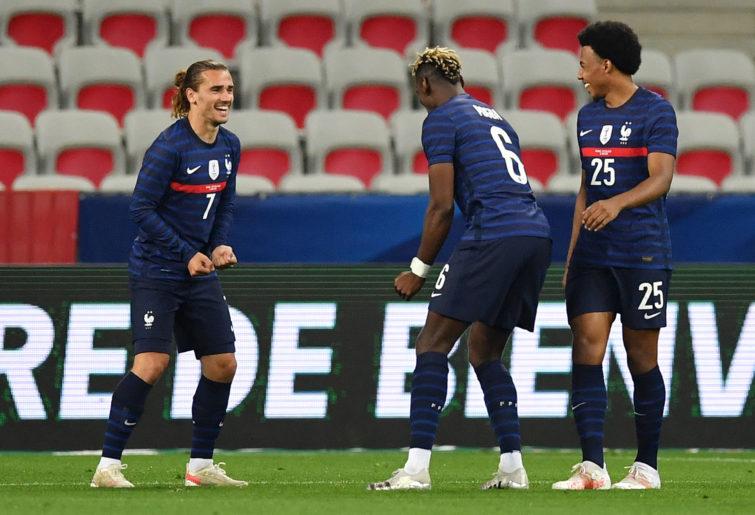 Antoine Griezmann of France celebrates after scoring