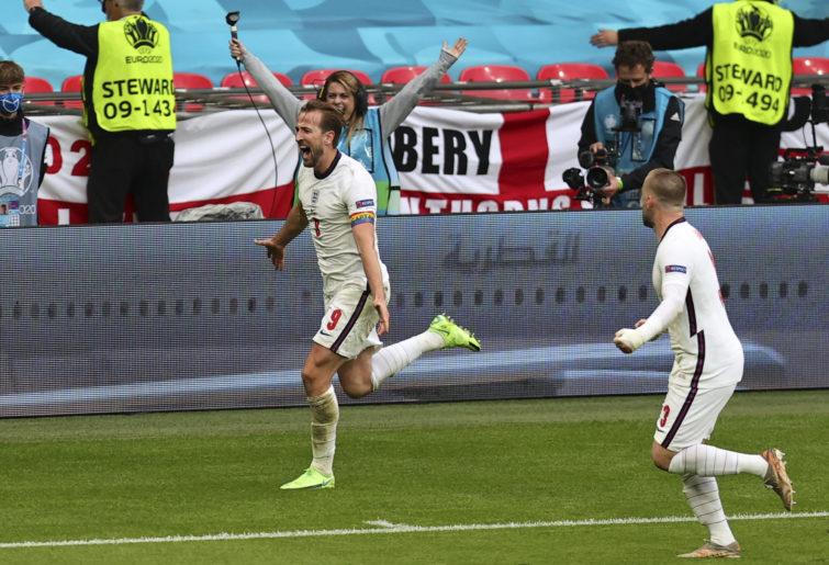 Harry Kane celebrates after scoring a goal.