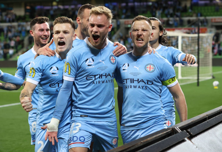 Scott Jamieson of Melbourne City celebrates after scoring from the penalty spot during the A-League Grand Final.