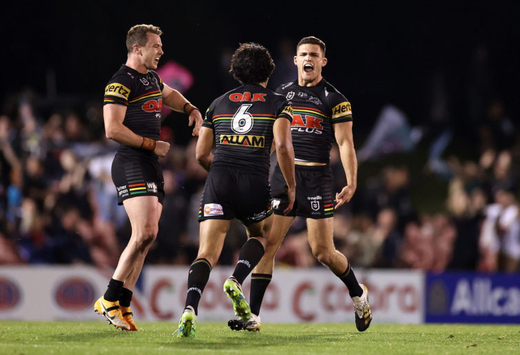 Nathan Cleary of the Panthers celebrates kicking a field goal
