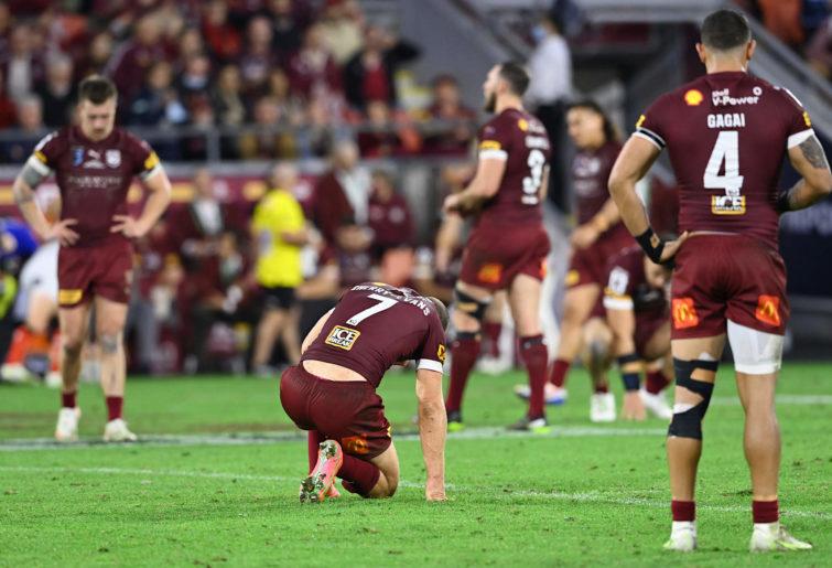 Queensland Maroons players look dejected after losing the 2021 Origin series