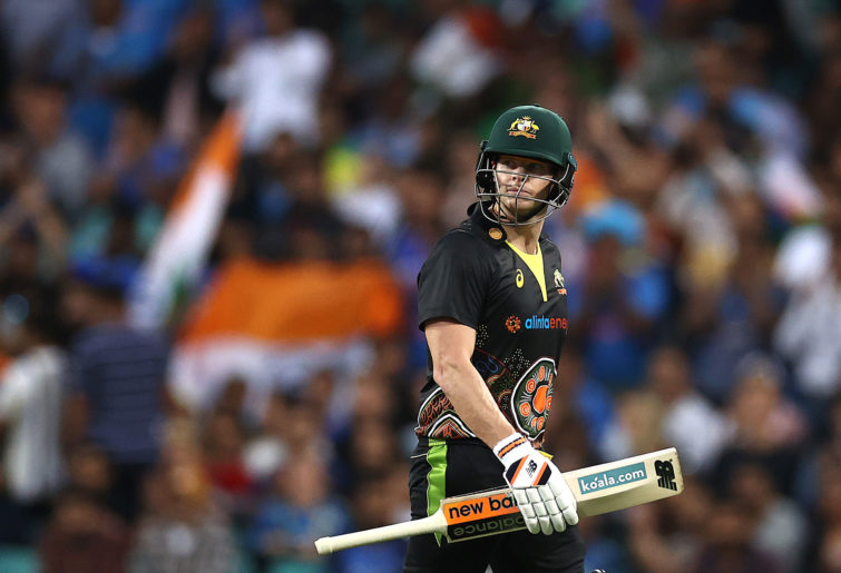 Steve Smith of Australia looks dejected after being dismissed