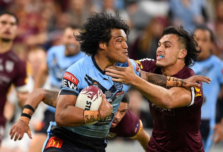 Brian To'o of the Blues is tackled