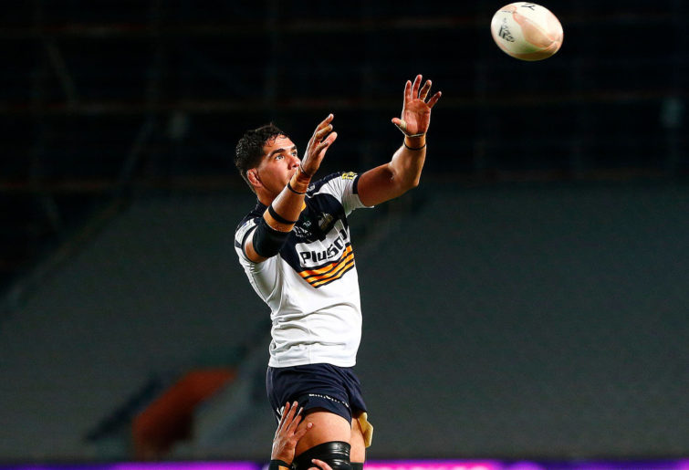 Darcy Swain of the Brumbies competes for the ball in a lineout
