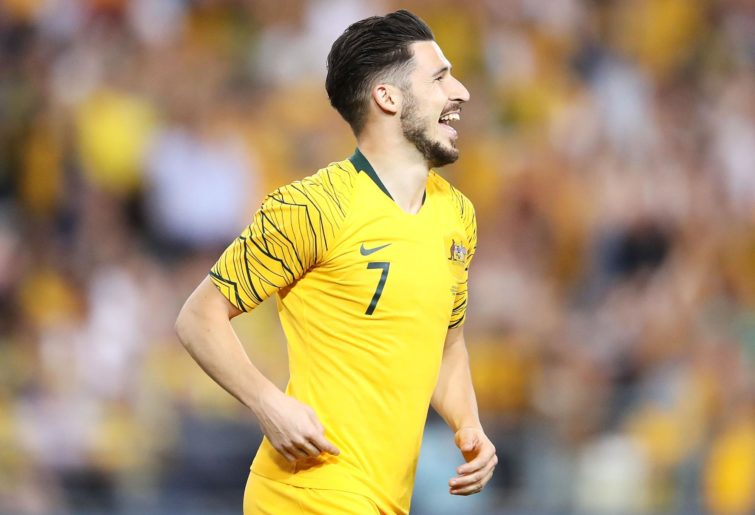 Mathew Leckie in his yellow Socceroos kit.