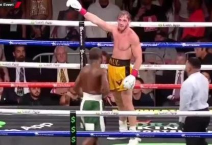 WATCH: Logan Paul mocks Floyd Mayweather after he fails to knock him out