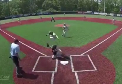 Young baseballer pulls off ridiculously acrobatic play