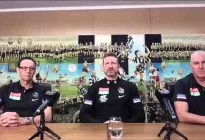 Nathan Buckley happy to finish up as Collingwood coach after getting 'tap' on shoulder
