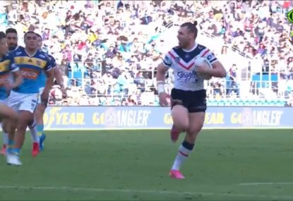 Rooster slammed for act of showboating that nearly cost him a try