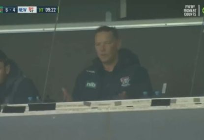 Adam O'Brien in disbelief after his team cops one of the harshest decisions in the 'crackdown'