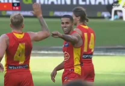 The Suns score an accidental long-range goal from the centre square