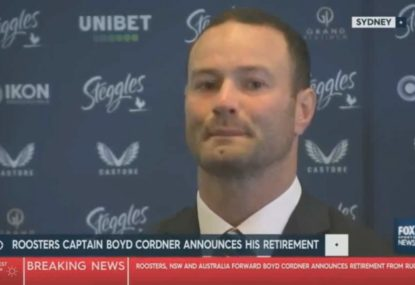 An emotional Boyd Cordner announces his retirement from the NRL