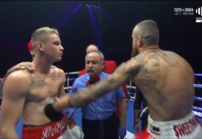 Kiwi fighter punches opponent BEFORE the bout, and then gets smashed