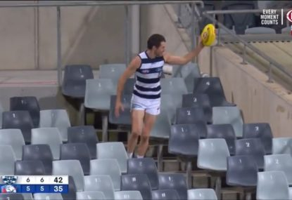 Peak local footy as Isaac Smith has to do his own search for the ball in the stands