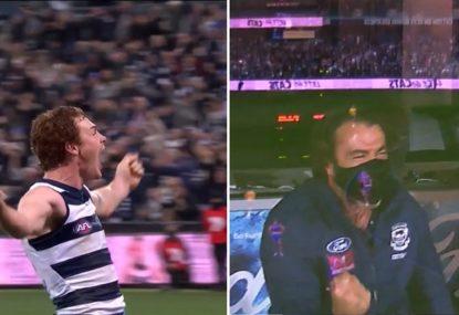 Chris Scott goes berserk as Gary Rohan sinks epic winning goal after the siren