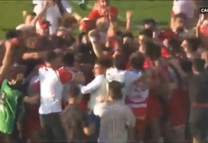 Absolute SCENES as French team end seven-year wait to return to Top 14 in dramatic penalty shootout