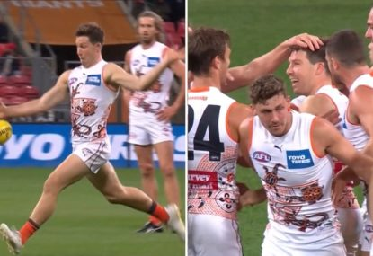 Toby Greene instantly becomes footy's greatest bloke by NAILING a torp for a goal