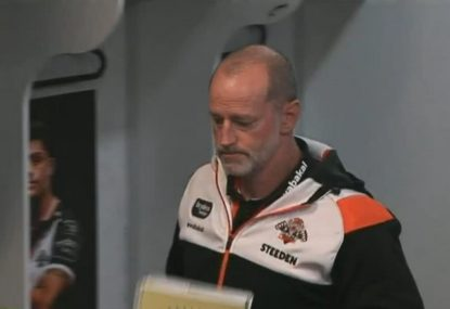 Tigers coach walks out of halftime address after woeful first half against the Storm