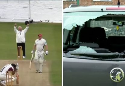 Crushing moment as English club cricketer smashes six through his own car window
