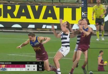 Joe Daniher mocked for diving in a dubious free-kick